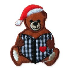 CHRISTMAS BEAR MOTIF IRON ON EMBROIDERED PATCH APPLIQUE